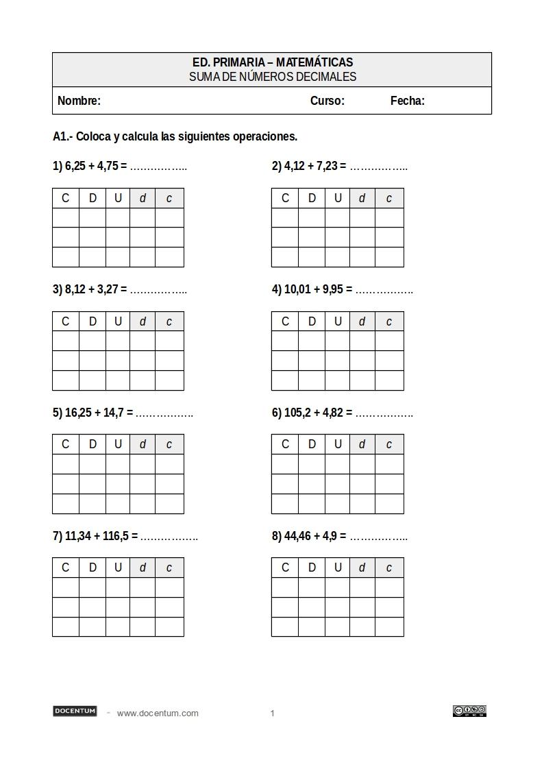 Sumas y restas de números decimales - Docentum